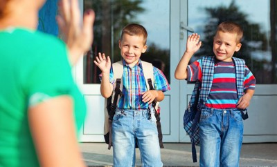 small children preparing for school