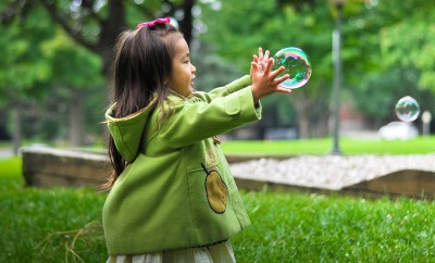 girl bubble nature