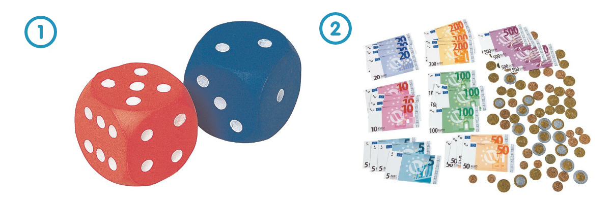 Learning Through Play - Constellation Dice [1] and Coins and Notes Kit [2]