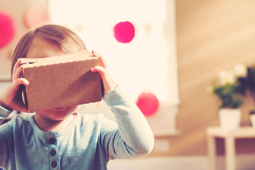 53677953 - toddler girl using a new virtual reality headset