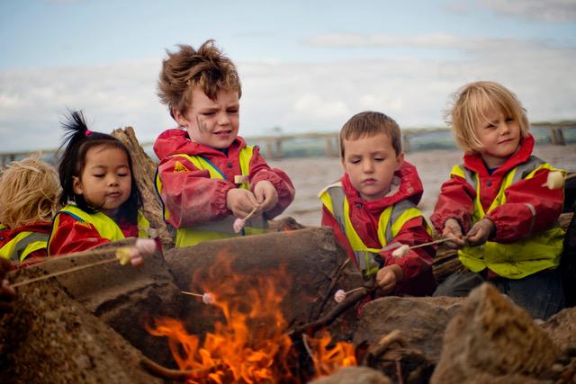 children attending beach schools
