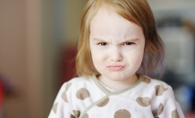 12789457 - portrait of little angry toddler girl