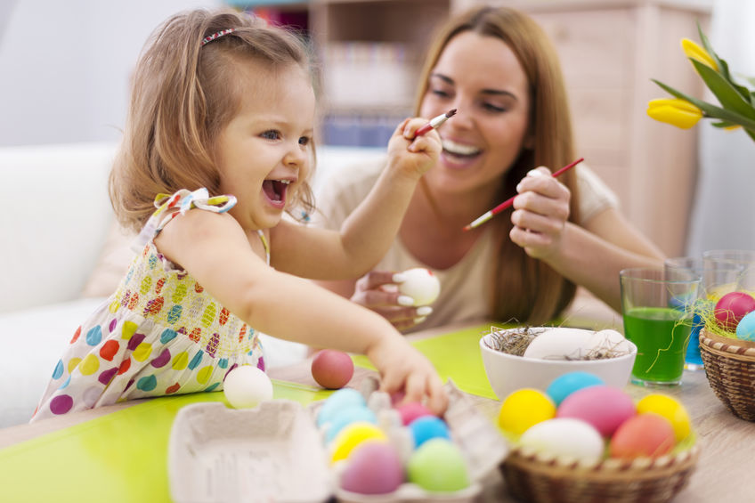 Happy time while painting easter eggs